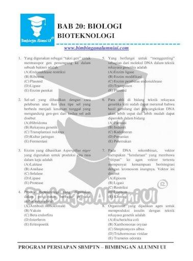 Bab 20 Biologi Persiapan Sbmptn Bimbingan Alumni Ui Bab 20 Biologi Bioteknologi 19 Azotobacter Pdf Document